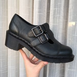 Dr. Martens leather buckle Ivy Mary Jane heels
